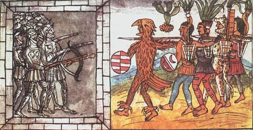 Dibujo azteca de la Historia de las Indias de Nueva España e Islas de Tierra Firme (c. 1500) de Diego Durán. Biblioteca Nacional, Madrid.