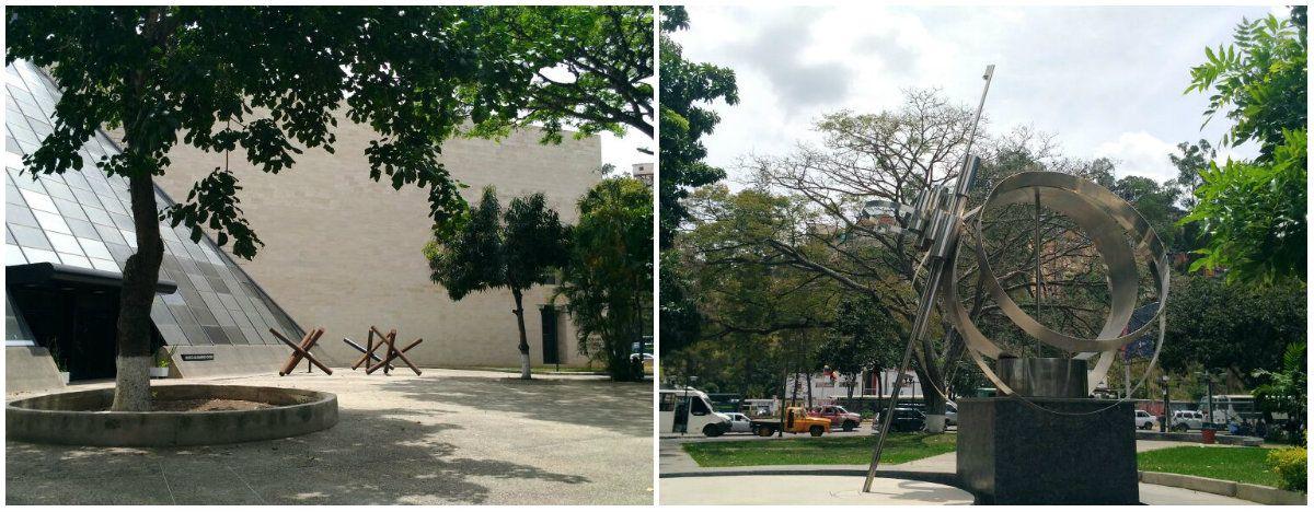 Esculturas de Antonio José García Rico y Alejandro Otero a la entrada del MAO